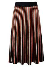 Pure Collection Knitted Skirt - Black Stripe - Size XL-20  RRP £140
