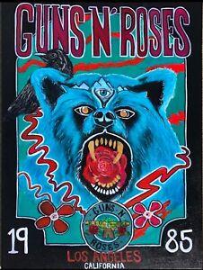 Guns N' Roses Band Painting Large Canvas Rock Music Los Angeles California Bear