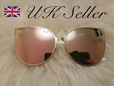 ROSE GOLD Cat Eye Women Ladies Sunglasses Mirrored Aviator Retro