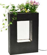 Design Gartenbrunnen mit LED Beleuchtung, Wasserfall Zierbrunnen Wasserspiel