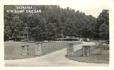 Cown WV Stone Pillars~Entrance to 4-H Camp Caesar~Real Photo Postcard RPPC 1948