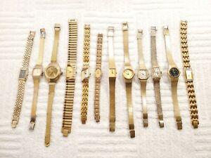 Lot of 12 Women's Seiko Vintage Dress Casual Quartz Watches Gold Tone Bracelets