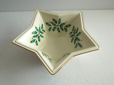 "Lenox ""Holiday"" Star-Shaped Bowl - Christmas Holly Design"