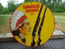 VINTAGE 1979 SAVAGE ARMS PORCELAIN ADVERTISING SIGN WINCHESTER INDIAN REMINGTON