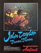 "1983 Bass Guitaist John Taylor ""Duran Duran"" Aria Pro II vintage print ad"