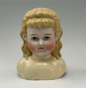 Large German Parian c1870s Doll Head & Shoulders Currier & Ives Molded Hair