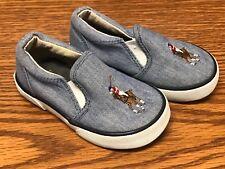 Ralph Lauren Polo Siera II Blue Denim White Toddler Baby Slip On Shoes Size 5C