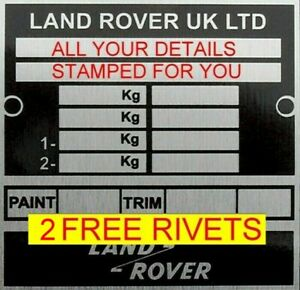 STAMPED Land Rover Range Rover Defender Discovery Vin plate TAG ID 2 FREE RIVETS