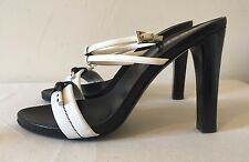 Prada Jasmine Black & White Leather Summer Heels EU 38 BNIB - REDUCED PRICE