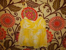 WOMENS MNG CASUALWEAR SPAGHETTI STRAP YELLOW & WHITE CROP TOP BLOUSE SIZE SMALL