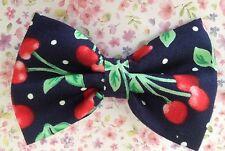 """Petit 3"""" navy red cherry cerises imprimé style rétro en tissu de coton barrette à cheveux nœud pour"""
