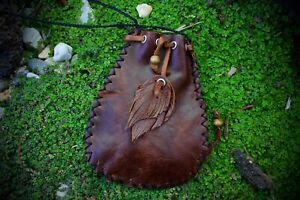 Leather Crystal Medicine Bag, necklace, shamanic tool, leather pouch, coin pouch