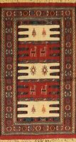 Traditional Geometric Kilim Hand-Woven Area Rug Tribal Oriental Wool 3x6 Carpet