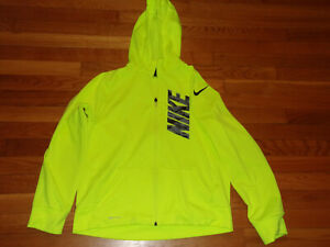 NIKE FULL ZIP BRIGHT YELLOW HOODED ATHLETIC JACKET BOYS XL NICE CONDITION