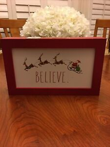 "Rae Dunn - BELIEVE - Santa Sleigh Reindeer Red Wood Sign - Christmas- 11.5"" x 7"""