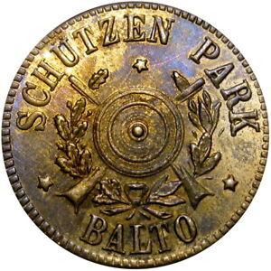 1870's Baltimore Maryland Merchant Token Schutzen Park Rifle Target