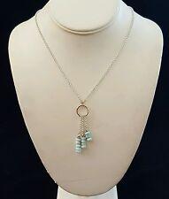 Necklace Larimar Triple Dangles 925 Sterling Silver Adjustable Handcrafted USA