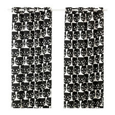 IKEA MATTRAM Kitty Cat Home Decor Window Curtains, 1 Pair, White and Black New
