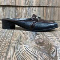 Brighton Womens Austen Mules Shoes Brown Black Leather Horsebit Low Heels 10 M