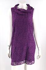 Lane Bryant Tunic Dress Size 14 Purple Lace Cowl Neck Sleeveless Lined Womens