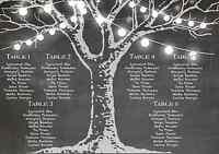 Fairy Lights Black White Chalkboard Wedding Table Seating Plan Chart Canvas Menu