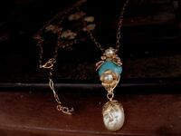 Vintage Turquoise, Baroque Pearl, Gold Flower Drop Long Necklace. Haskell Style