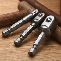 "1/4"" 3/8"" 1/2"" 3 Sizes Steel Hex Socket Power Dirver Shank Adapter Drill Bit Set"