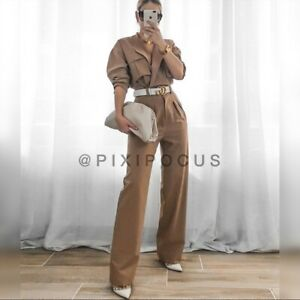 ZARA NWT FW20/21 TAUPE BROWN LONG JUMPSUIT WITH POCKETS S,M,XL 8553/349