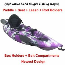 2.7M Fishing Kayak Single Sit-on 5 Rod Holders Seat Paddle Purple Camo