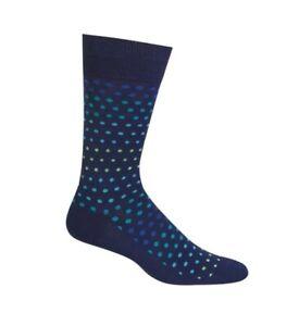 Hot Sox Varigated Dot Navy Blue Dress Crew Socks