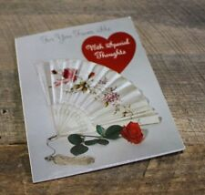 Vintage 1964 Greeting Card Valentine's Day Red Heart Rose Fan Hallmark Used