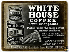 COFFEE beans TEA metal SIGN WHITE HOUSE CAN collectible VINTAGE style decor 275