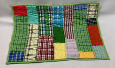 POTTERY BARN KIDS Green Blue Madras Patchwork Plaid Quilted Standard Pillow Sham