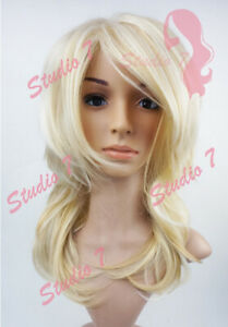W137 Bleach Blonde Mix Mid Length Choppy Layers Wig - studio7-uk