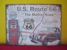 """XL-Wandbild Blechschild """"Route 66""""Gewellt 80x60 Bild USA Highway Road Used-Look"""