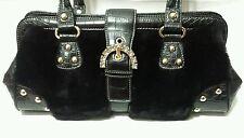 Kathy Van Zeeland Fur Satchel Rhinestone Black Faux Croc Buckle Shoulder Bag