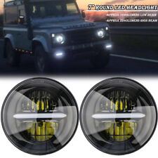 """PAIR 7"""" LED PROJECTOR HALO HEADLIGHT E MARKED RHD 110 90 FOR LAND ROVER DEFENDER"""