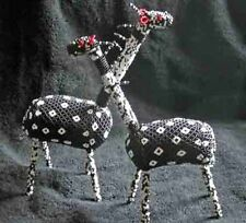 Spectacular Hand Beaded African Zulu Pair of Black Giraffe - Great Kwanzaa Gift