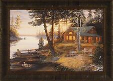 LAST EMBERS by Terry Doughty 20x28 FRAMED PRINT Cabin Bear Ducks Sunset Lake