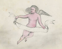ANTIQUE 1874 AMERICAN FOLK ART ANGEL CLOUD PAINTING OWENSBORO KY PARRISH STIVERS