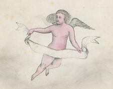 ANTIQUE 1874 AMERICAN FOLK ART ANGEL CLOUD PAINTING OWENSBORO KY PARRISH STIVERS