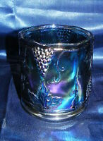 Vintage Carnival Glass Indiana Grape Harvest Blue Small Canister No Lid