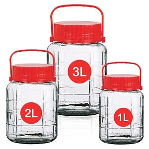 Large Clear Glass Jar Food Preserve Seal-able Airtight Container Storage Lid New