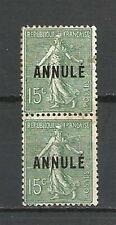 "PAIRE Verticale N° 130-C1 SEMEUSE ""ANNULE"" 15 C. Vert. Cote 37€ (Neuf**/Neuf*)"