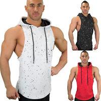 Men Gym Sleeveless Vest Fitness Hooded Tank Top T Shirt Sports Tee Shirts Hoodie