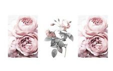 Set Of 3 Pink Roses Home Wall Decor Prints Available In A4 Or A5
