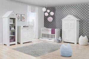 Babyzimmer Kinderzimmer weiß SAINT-TROPEZ Set A komplett Bett Schrank KommodeNEU