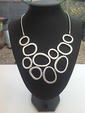 Lagenlook Chunky Silver Circle Necklace -  18 Inch Chain - 46 Cm - Statement