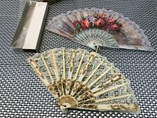 2 Vtg Spainish Hand Fan Filigree W/ Lace , Paper With Red Roses And One In Box