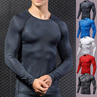 Mens Compression T Shirt Long Sleeve Base Layer Bodybuilding Armour Thermal Tops